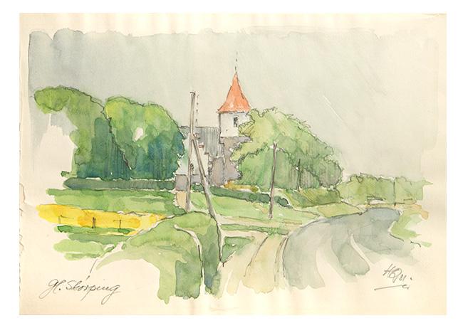 Akvarel af Helge Qvistorff af Gl. Skørping Kirke