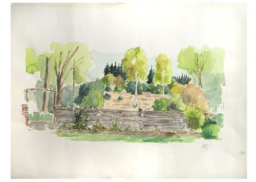 Akvarel af Skovhegn malet af Helge Qvistorff